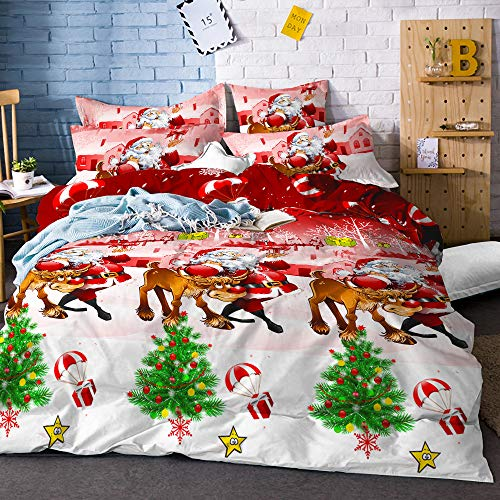 Christmas Duvet Cover Twin Size Snowman Red Green Bedding Set Santa Claus Christmas Tree Quilt Cover with Zipper Closure Happy New Year Bedding Cover 3 Piece Bed Set