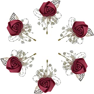 Buery 6 Pieces/lot Wedding Boutonniere Handmade Rose Boutonniere Corsage with Pin, Lapel Pin Rose Wedding Boutonniere for ...