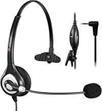 $28 Get Arama 2.5mm Telephone Headset with Flexible Noise-Cancelling Microphone and Volume Control | Stainless Steel Headband, Pro Hands-Free Headset for DECT Corded and Cordless Phones (A600CP)
