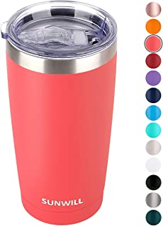 SUNWILL 20oz Tumbler with Lid, Stainless Steel Vacuum Insulated Double Wall Travel Tumbler, Durable Insulated Coffee Mug, Powder Coated Coral, Thermal Cup with Splash Proof Sliding Lid