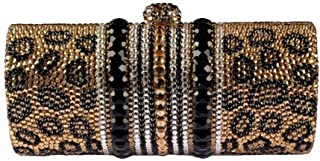 for Party Rhinestone Dinner Bag Lady Handbags Elegant Banquet Clutch Bag Shoulder Chain Bag Dress Hard Shell Gift Leopard Print (Color : Yellow, Size : M)