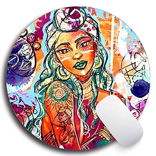 SHrui Gaming Office Mouse pad,Anti-Slip Natural Rubber Mouse pad, Round Personalized Custom Mouse pad for Desktop, Computer, Laptop -Queen Girls