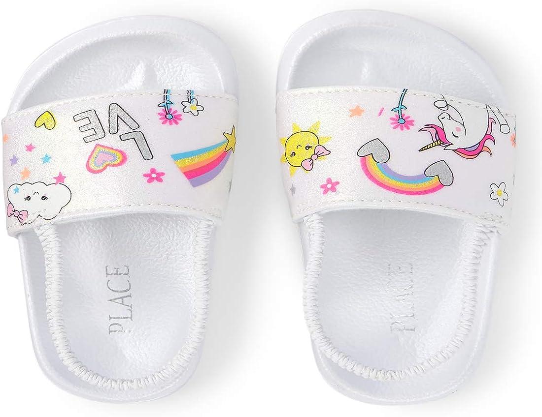 The Children's Place Unisex-Child Printed Doodle Slide Sandals Slipper