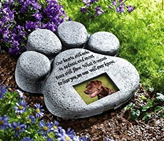 CTD Store Dog Cat Paw Print Grave Memorial Stone, This Beautiful Paw Print is The Perfect Way to Mark The Bellowed Pet 's Final Resting Peace - Indoor and Outdoor Decoration …(Grey)