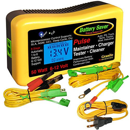 Battery Saver 2365-lcd Battery Charger, Maintainer, Pulse Cleaner and Tester- 50 W (6V and 12 V), 1 Pack