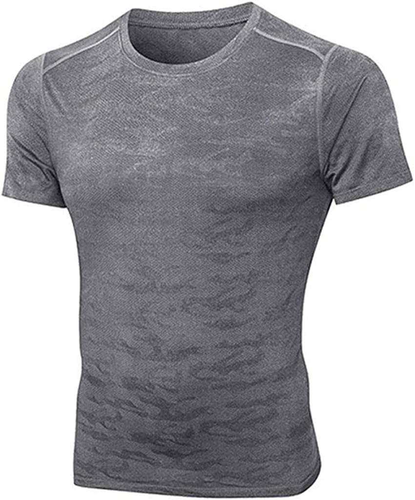 MODOQO Men's T-Shirt Casual Summer Fast-Drying Slim Fit Breathable Sports Gym Fitness Tee Tops