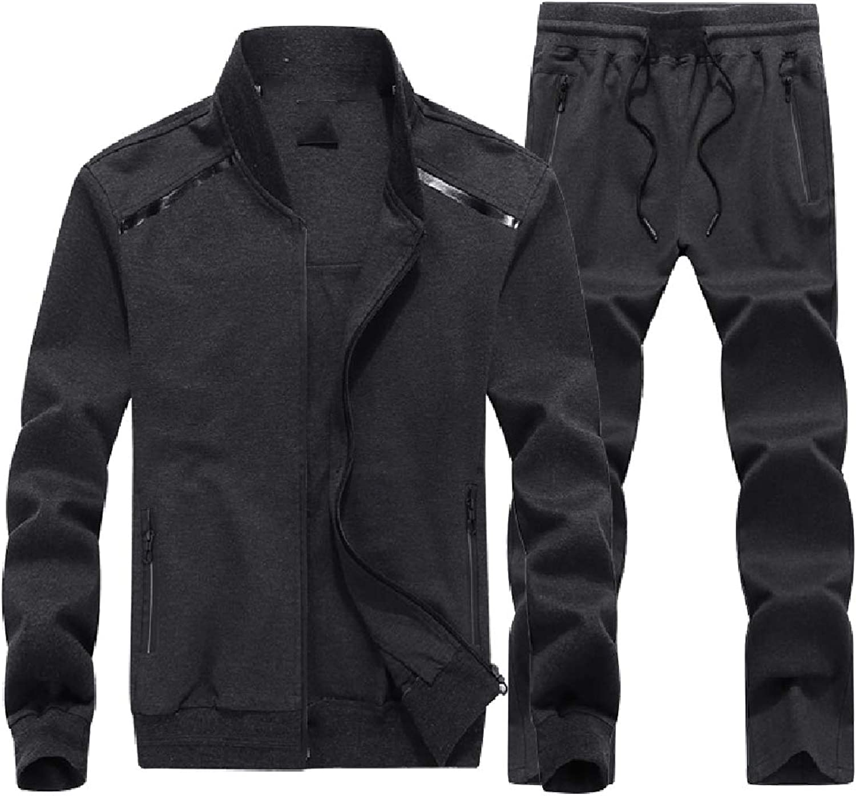 Zimase Men's Pure color Stretch Zipup Oversize Sweatsuit Pants Set