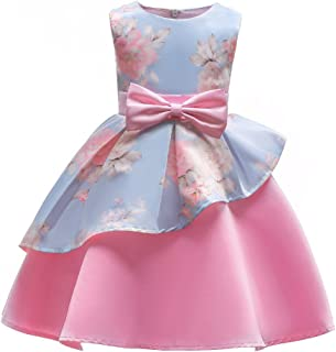 Rysly Kids Sleeveless Pageant Dress Flower Bow Party Wedding Dresses for Toddler Girl