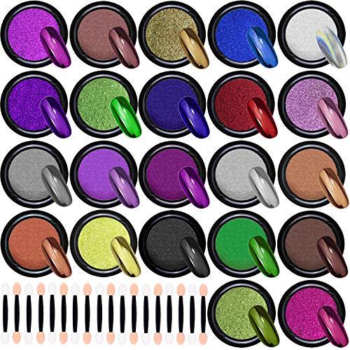 Duufin 22 Kästen Chrom Pigment Metallic Nagelpuder Mirror Nägel Pulver mit Lidschattenpinsel für Nägel Nail Art, 1g/Kästen