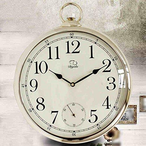DFHHG ® Wanduhr Uhren und Uhren Retro Nostalgie europäischen Stil Wohnzimmer Wanduhr Moderne elektronische Taschenuhr Mode stumm ( Farbe : #1 )