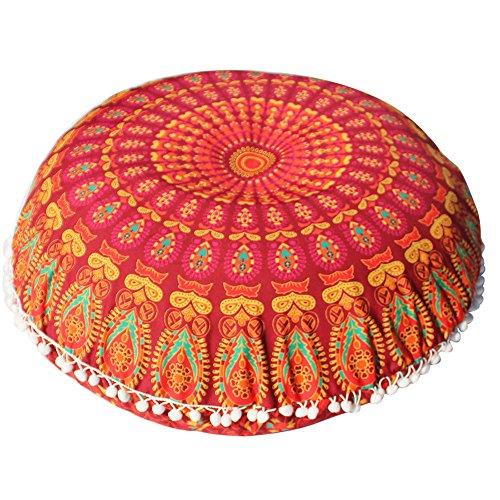 Cuscino rotondo da 78,7 cm Mandala Barmeri grande cuscino da meditazione, ottomano, fodera decorativa hippie con cerniera, stile bohémien (arancione)