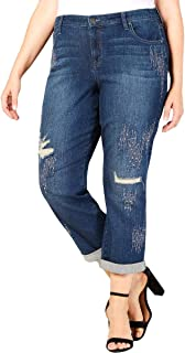 Style & Co Plus Size Embellished Distressed Boyfriend-Fit Jeans