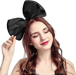Mwfus Women Girls 10'' Big Bow Headband Cute Hairband Halloween Costume Hair Hoop Accessories Black