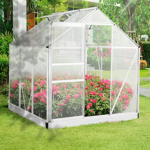 Aoxun Outdoor Stable Green House with Adjustable Roof Vent and Rain Gutter for Plants, Polycarbonate Walk-in Garden Greenhouse for Flowers in Winter, 6 x 6 FT