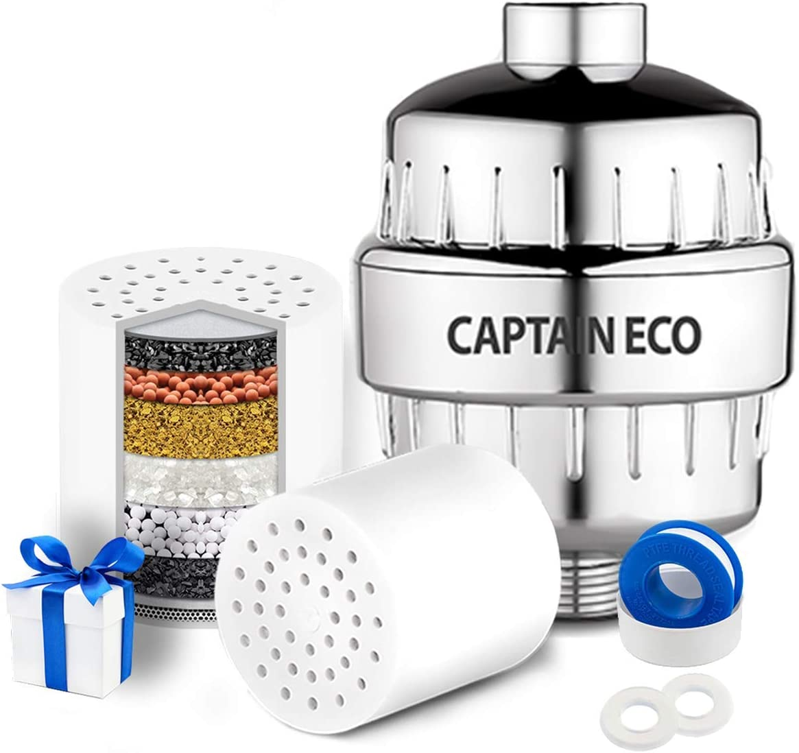Shipping included Eco Shower Head Filter + Curtain Remove Manufacturer direct delivery Chlorine 99% Hard Wa