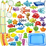 CozyBomB Kids Pool Fishing Toys Games - Summer Magnetic Floating Toy Magnet Pole Rod Fish Net Water Table...