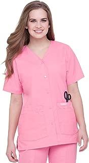 Women's Premium 4-Pocket Classic Fit Snap Front V-Neck Scrub Top