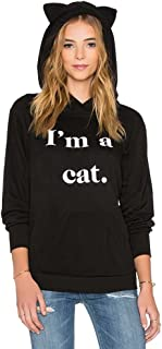 Cat Ear Black Hoodies Women Pullover Pocket Pouch Tumblr Aesthetic Cute Hooded Sweatshirts Sweaters Plus Size Oversized