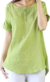 iDWZA Women's Button Down Solid Cotton Line Tee Shirtn Blouse Tops