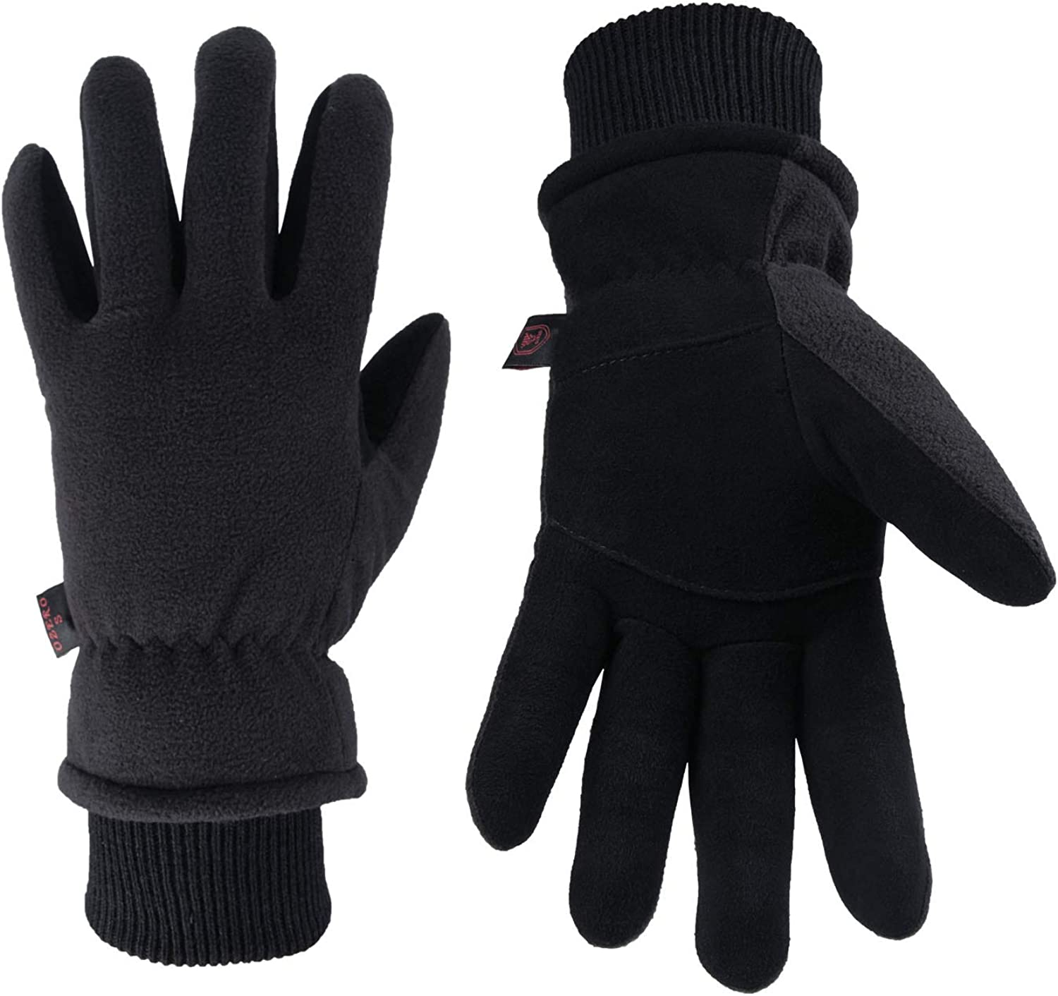 OZERO Winter Gloves Deerskin Leather Windproof Insulated Work Gifts for Men and Women