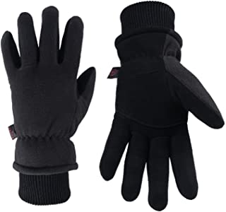 Best OZERO Winter Gloves Deerskin Suede Leather Palm with Big Patch - Water-Resistant Windproof Insulated Work Glove for Driving Cycling Hiking Snow Skiing - Thermal Gifts for Men and Women Black/Gray/Tan Review
