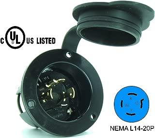 Journeyman-Pro 2415, NEMA L14-20 Flanged Inlet Generator Plug, 20A 125/250 Volt, Locking Receptacle Socket, Black Industrial Grade, Grounding 5000 Watts (With Waterproof Cover)