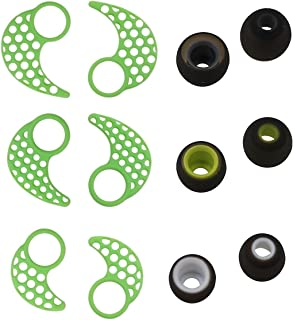 Ear Tips and Ear Fins Set for Jaybird Bluebuds X and Jaybird X2, BLUEWALL Replacement Eartips Anti Slip Sport Fins for Jaybird X2 X,SML 3 Pair 3 Size Green