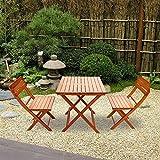 Ruication Gartenmöbel Essgruppe aus vorgeöltem Tannenholz mit 2-Sitzer, 1 Tisch und 2 Stühlen für Terrasse, Balkon, Garten, Camping, Bar, Bistro