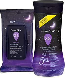 Summer's Eve Cleansing Wash & Cloth Pack | Lavender | 12 oz Wash and 32 Count Cloths
