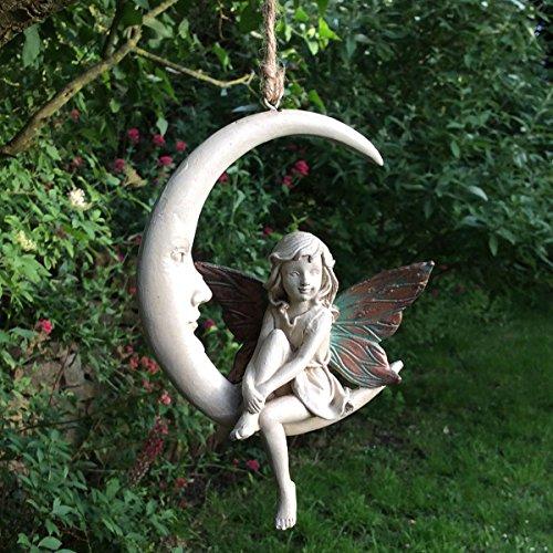 Attrape-rêves à suspendre Fée Rosa de la forêt sur balançoire, statuette de fée blanche avec ailes cuivrées, figurine art-déco pour décoration d'intérieur et de jardin, idée cadeau, hauteur de 15 cm