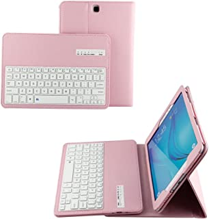 Samsung Galaxy Tab A 9.7 SM-T550 T555 Tablet Keyboard Leather Case, Premium Folio PU Case Wireless Bluetooth Built-in Stand Removable Keyboard Case Cover with Auto Sleep/Wake (Pink)