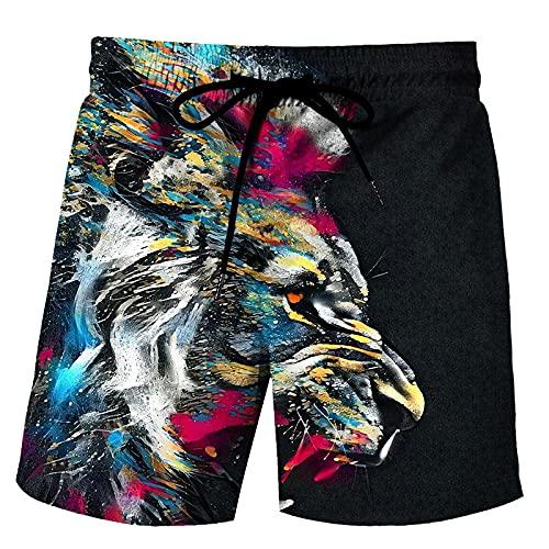 XCMLZ Lionbañador Natación 3D Impresos Secado Rápido Ropa De Playa Hawaiano Pantalones Cortos con,XXXXL