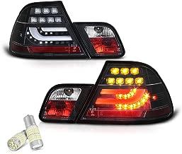 [4-Piece] VIPMOTOZ Black Bezel Premium OLED Neon Tube LED Tail Light Lamp Assembly For 2000-2003 BMW E46 3-Series Pre-LCI Coupe - Full SMD LED Reverse Bulbs Included, Driver & Passenger Side Pair