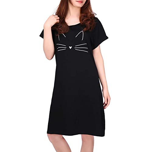 5775f6381d HDE Women s Sleep Shirt Dress Short Sleeve Nightgown Pajama Oversized  Nightshirt