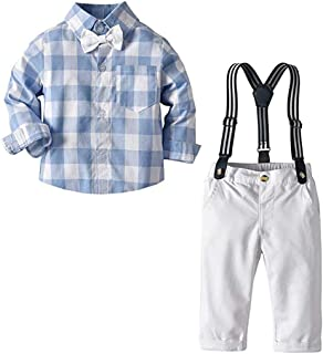 Yilaku Baby Boys Gentleman Outfits Suits Infant Long Sleeve Casual Shirt+Suspenders Pants+Bow Tie Overall Clothing Outfit Set