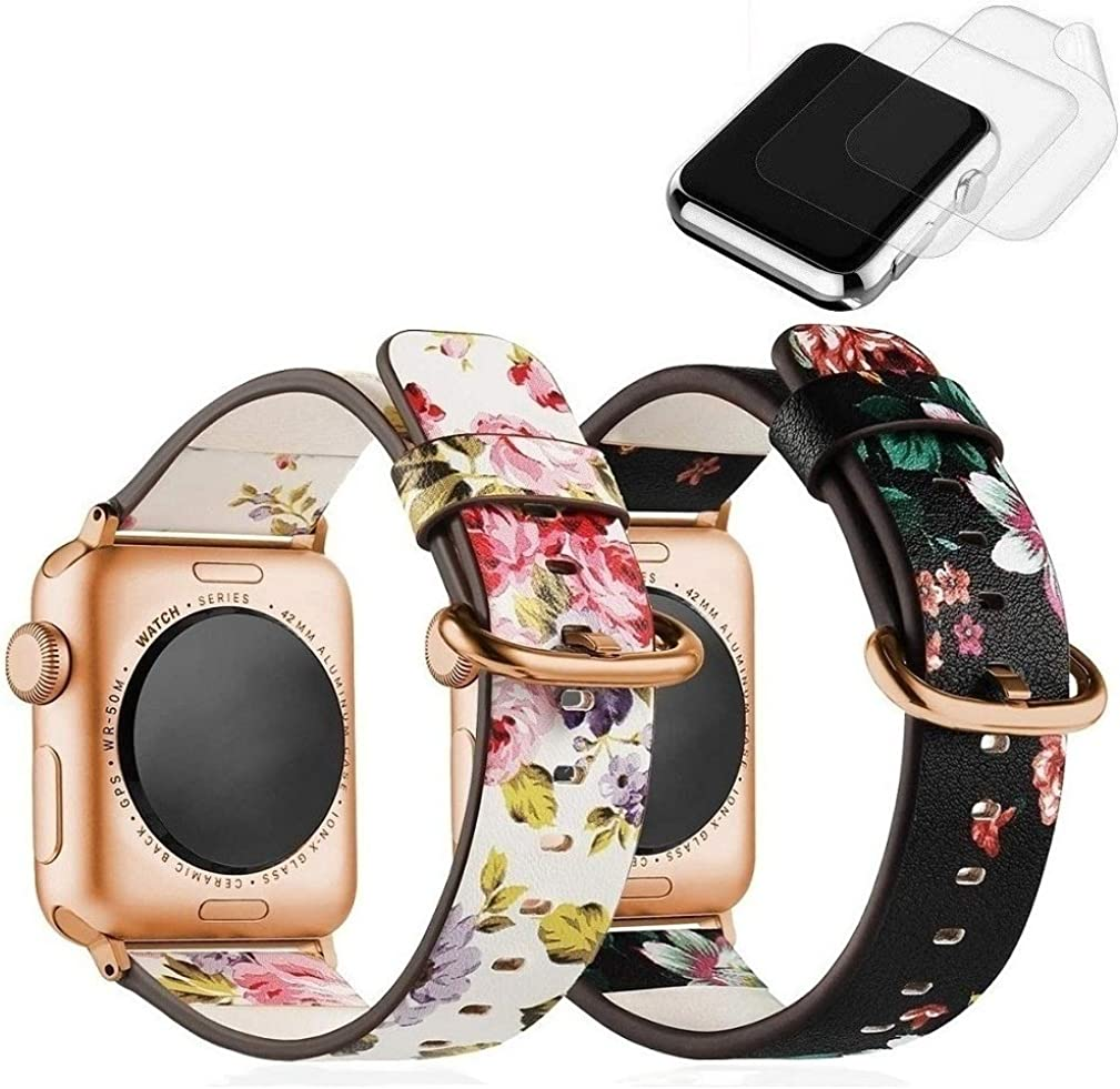 (2 Pack) Compatible with Apple Watch Band 38mm 40mm for Women,F.S Floral Leather Compatible Bands/Strap for Series 5 4 3 2 1, W/ Rose Gold Clasp, 2x Screen Protector As Bonus