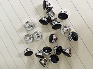 50 x dress shirt buttons black with silver trim shank on back 11mm