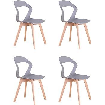 Naturelifestore Sedie Moderne della Sedia del Openwork dello Schienale Minimalista Moderno Nordico per la Sala da Pranzo, Salone,4PCS (Grey)