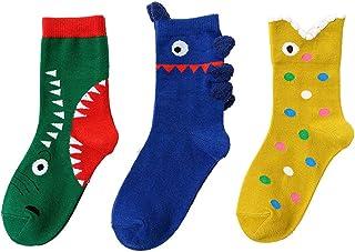 جوارب قطنية لطيفة للأطفال الصغار من الأولاد والبنات الصغار أزياء Catoon - عبوة من 3 أزواج