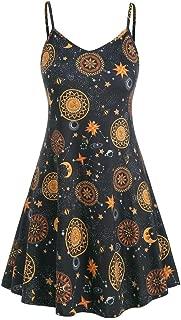 Wadonerful Price!Womens Tank Tops Summer Dress Shirts Sun Moon Stars Print Basic T Shirts Blouses