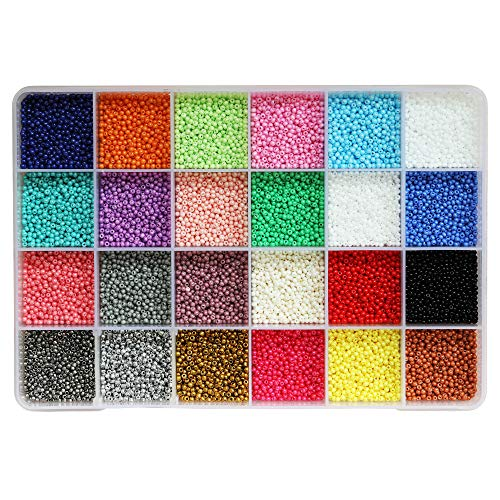 BALABEAD Size Almost Uniform Seed Beads 24000pcs in Box Opaque Color Seed Beads 24 Multicolor Assortment 12/0 Glass Craft Beads 2mm Seed Beads for Jewelry Making, Hole 0.6mm (1000pcs/Color, 24 Colors)