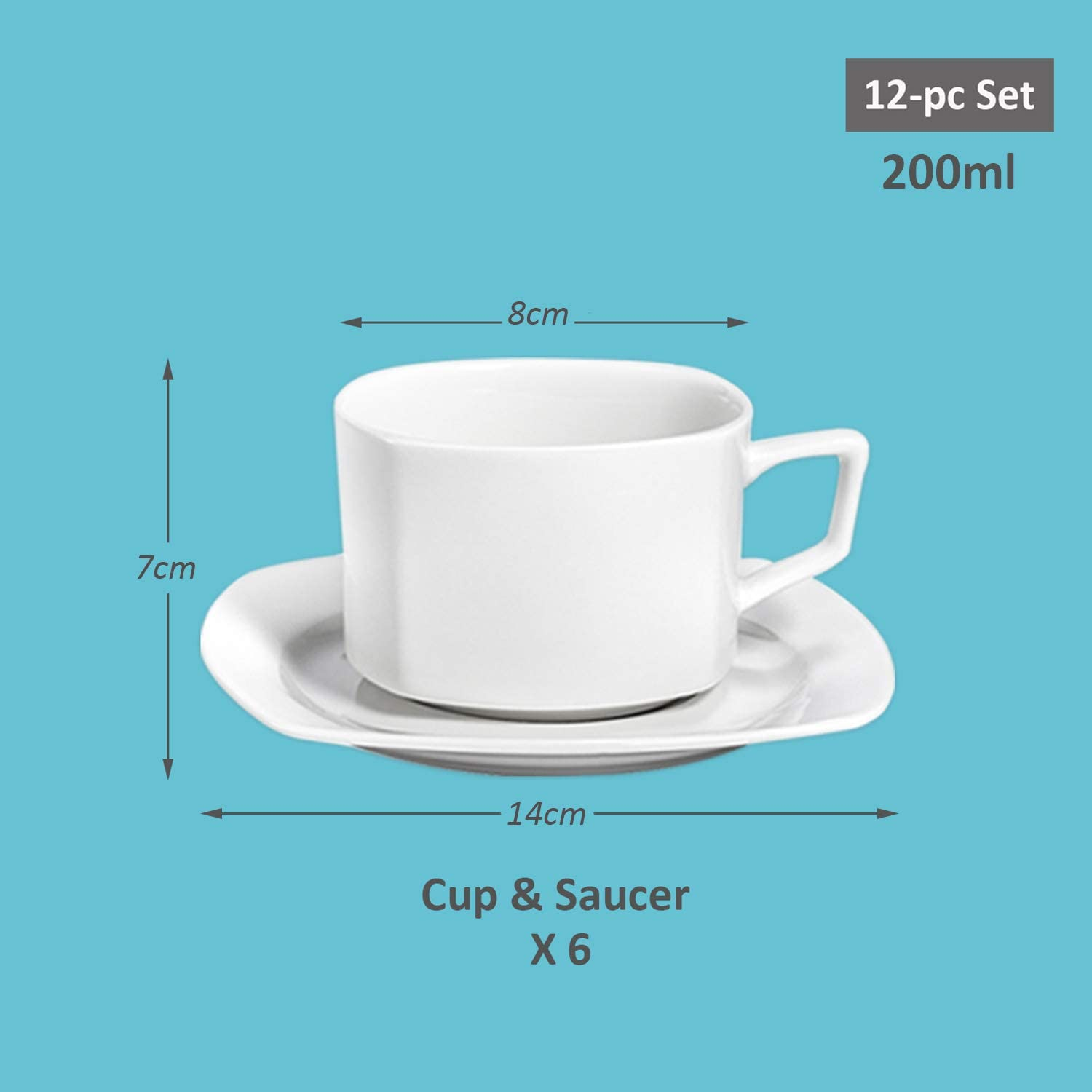 SUNTING 18-Piece Coffee Sets Porcelain Cream White Afternoon Tea Sets New Bone China Square Tableware Set with 6 Side Plates 6 Espresso Coffee Cups//Mugs 200ml and 6 Saucers