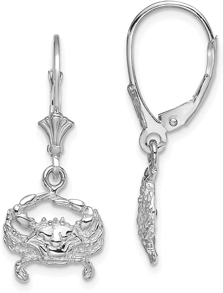 14k White Gold Blue Crab Leverback Earrings Lever Back Drop Dangle Animal Butterfly Fine Jewelry For Women Gifts For Her