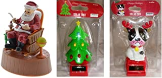 Solar Dancing Santa in Rocking Chair, Christmas Tree and Reindeer Dog - Set of 3 Pieces