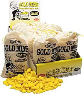 Espeez Giant Gold Mine Nugget Bubble Gum Candy, 8.82 Ounce Bag - Display Box of 12 bags