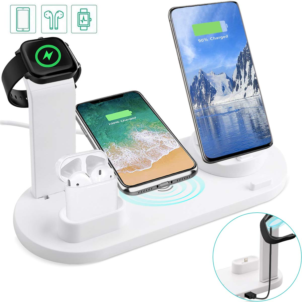 Auzev Wireless Charger Station,6 in 1 Charging Dock for AppleMicroType C PhonesiWatchAirpods,Qi Fast Wireless Charger Compatible with iPhone