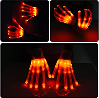Alohaa LED Light-Up Skeleton Hand Gloves Party Light Show Gloves For Clubbing, Rave, Birthday, EDM, Disco, Christmas, Halloween And Dubstep Party( Red light)