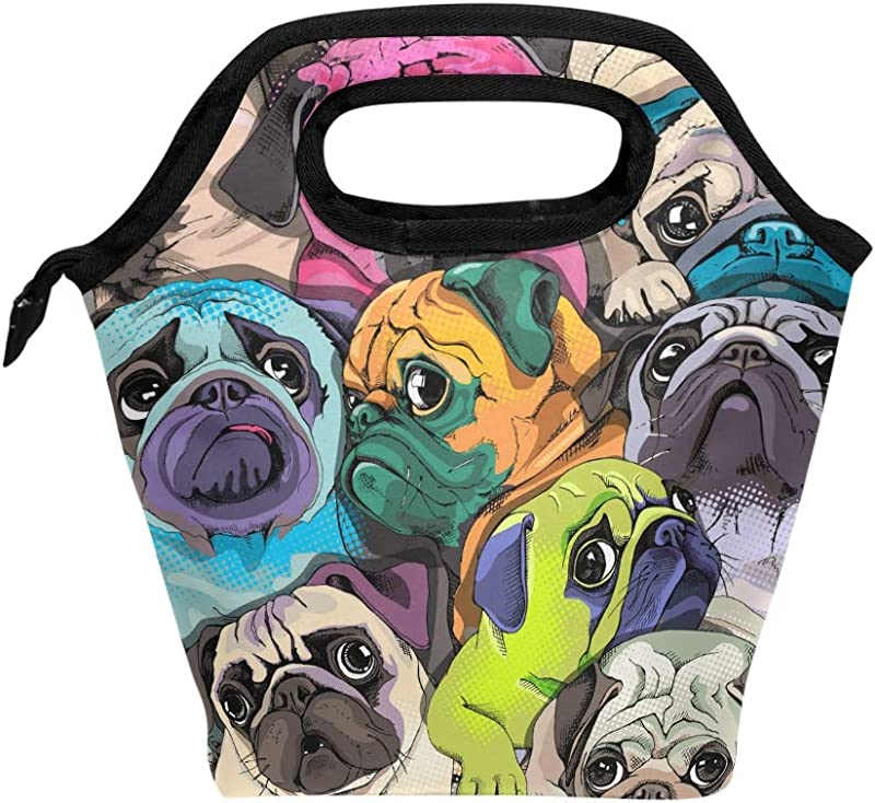 NASEN Many Pugs Lunch Box Cooler Pack Lunch Bag Women Insulated Tote Bags Travel Outdoor Work Food Container