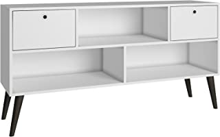 BRV MÓVEIS MDP/Wood Feet/Plastic Handle TV Table, Table; TV Stand; BPP 31-129, White/Pinion Feet, H69 x D35 x W135 cm, Eas...