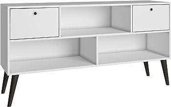 BRV MÓVEIS MDP/Wood Feet/Plastic Handle TV Table, Table; TV Stand; BPP 31-129, White/Pinion Feet, H69 x D35 x W135 cm, Eas...